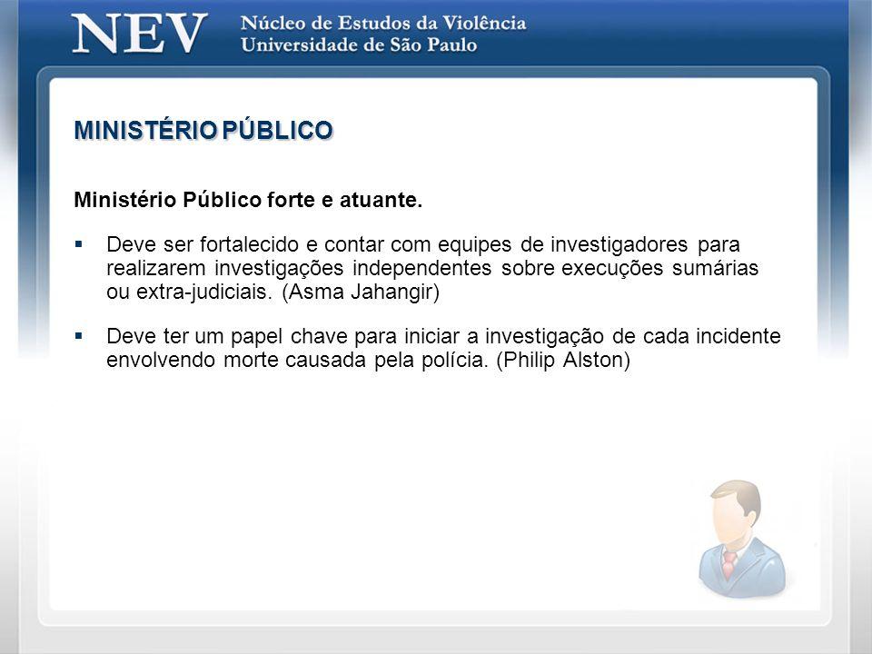 MINISTÉRIO PÚBLICO Ministério Público forte e atuante. Deve ser fortalecido e contar com equipes de investigadores para realizarem investigações indep