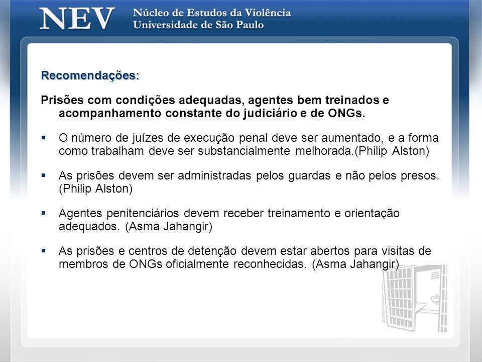 Recomendações: Prisões com condições adequadas, agentes bem treinados e acompanhamento constante do judiciário e de ONGs. O número de juízes de execuç