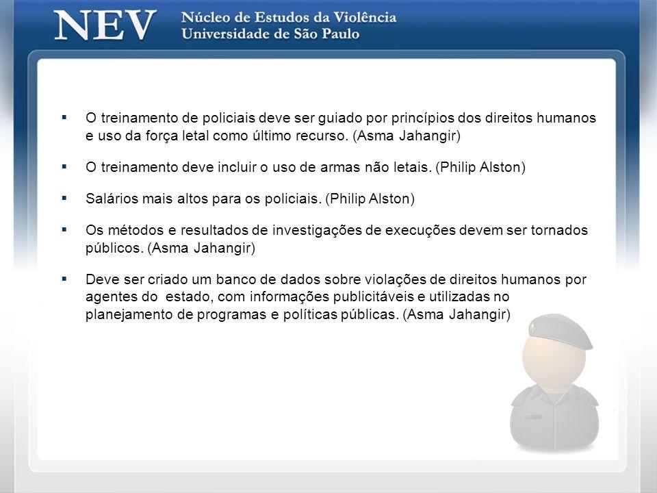 Vítimas de Execuções Sumárias Fonte: Banco de Dados da Imprensa - NEV/USP - CEPID [São Paulo, 2000-2007] (FORD/FAPESP/CNPq) Asma Jahangir Philip Alston