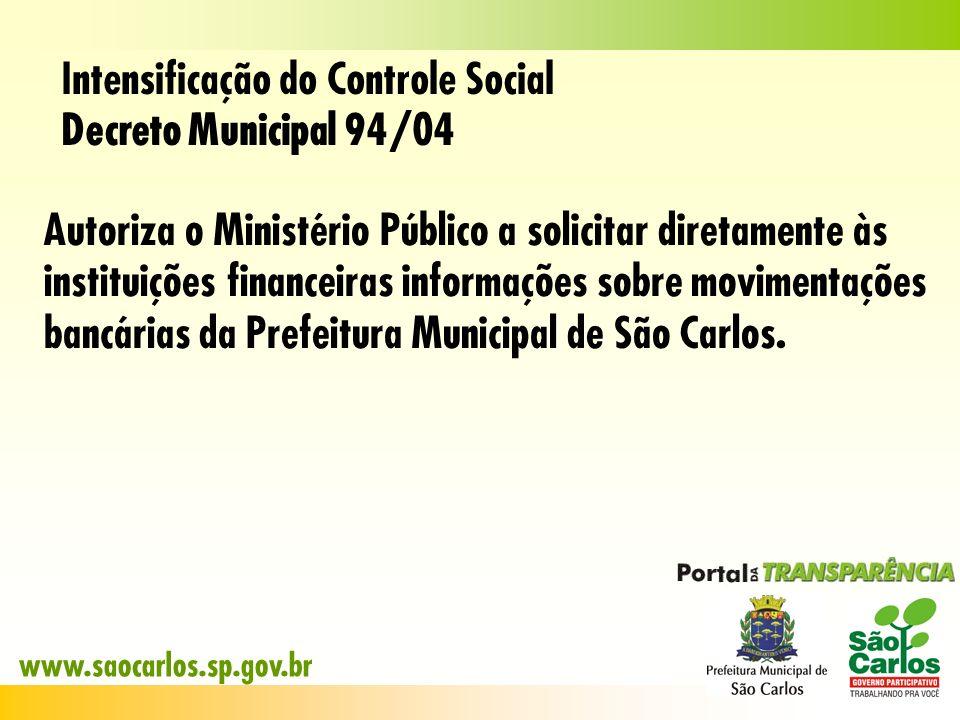 Intensificação do Controle Social Decreto Municipal 94/04 Autoriza o Ministério Público a solicitar diretamente às instituições financeiras informaçõe