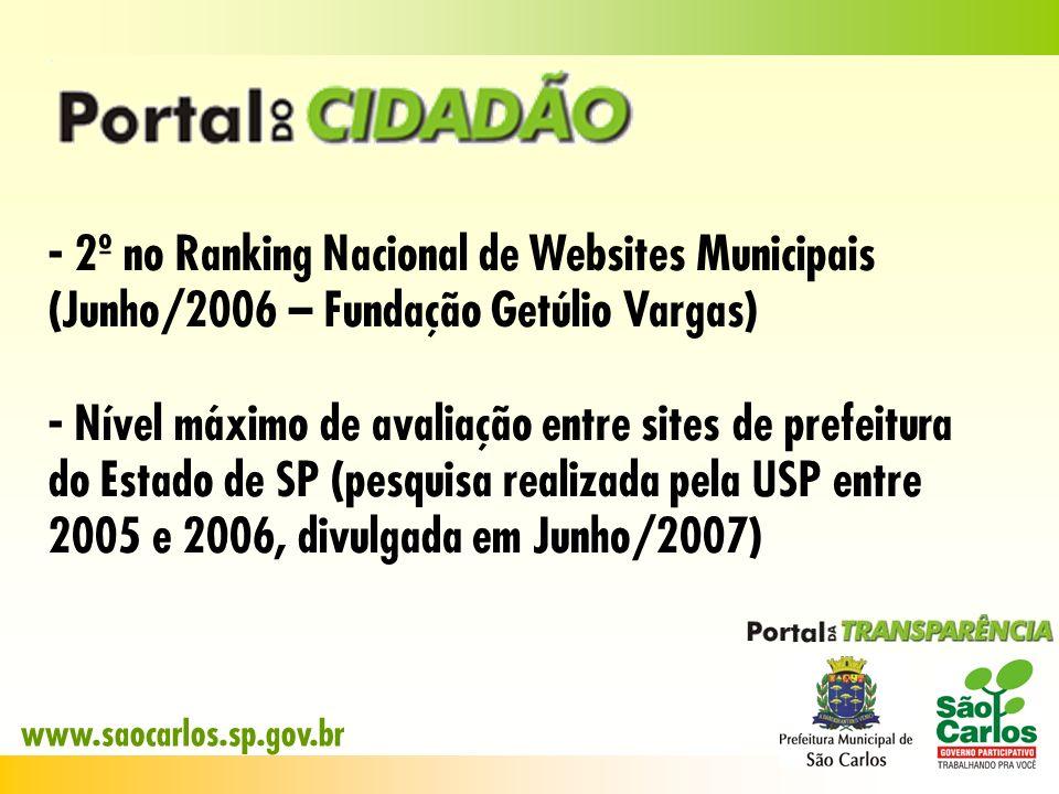 - 2º no Ranking Nacional de Websites Municipais (Junho/2006 – Fundação Getúlio Vargas) - Nível máximo de avaliação entre sites de prefeitura do Estado
