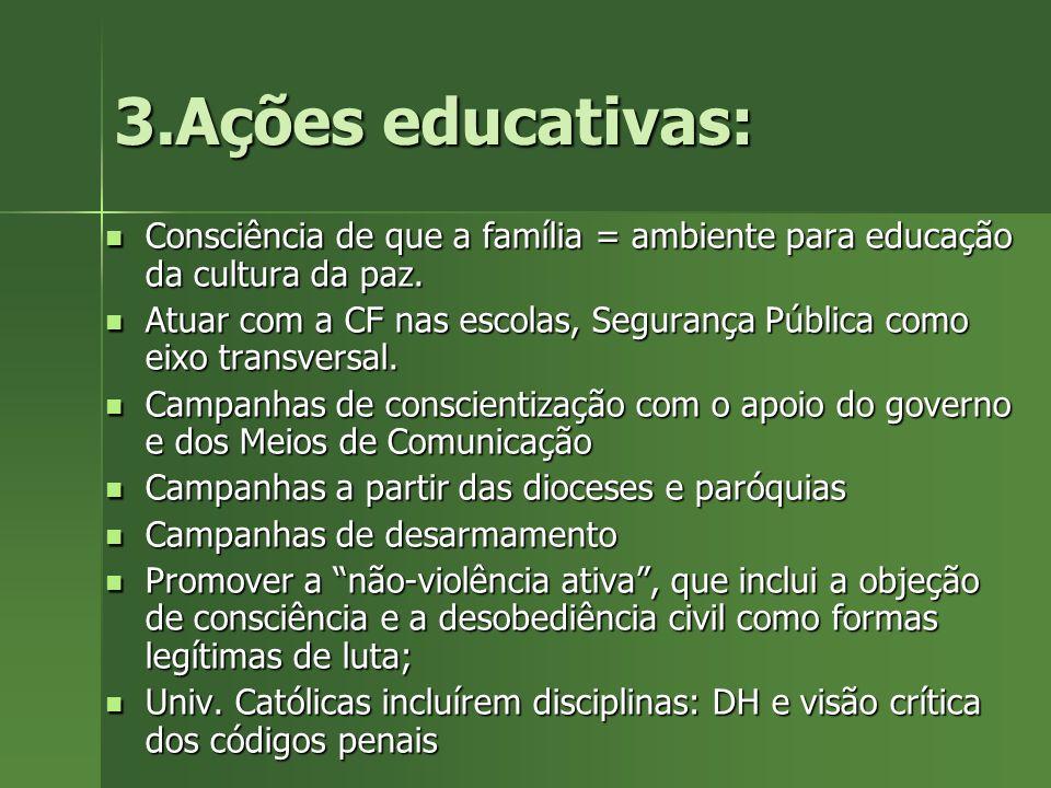 3.Ações educativas: Consciência de que a família = ambiente para educação da cultura da paz. Consciência de que a família = ambiente para educação da