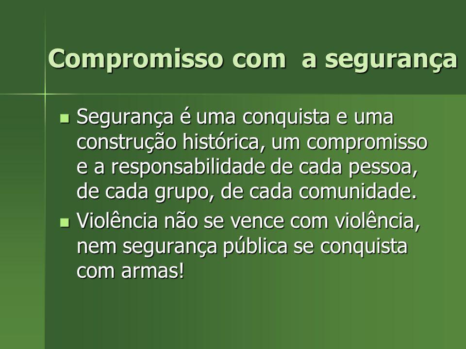 Compromisso com a segurança Compromisso com a segurança Segurança é uma conquista e uma construção histórica, um compromisso e a responsabilidade de c