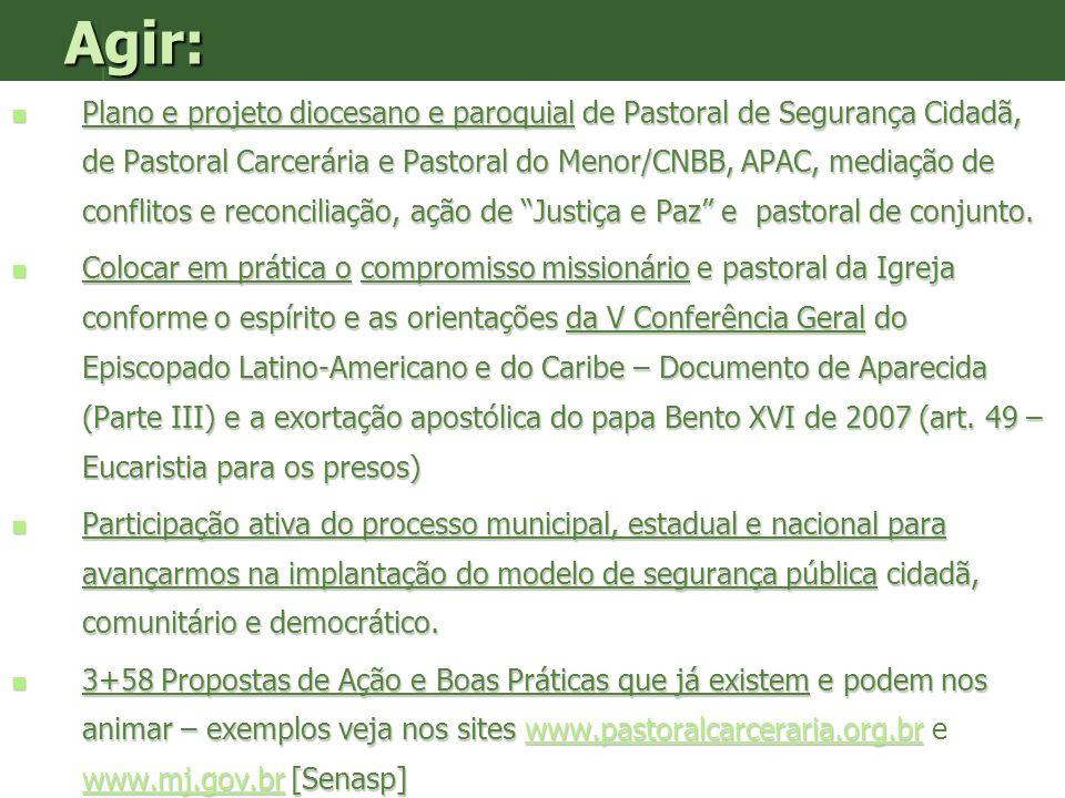 Agir: Plano e projeto diocesano e paroquial de Pastoral de Segurança Cidadã, de Pastoral Carcerária e Pastoral do Menor/CNBB, APAC, mediação de confli