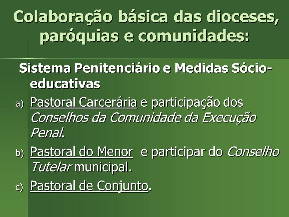 Colaboração básica das dioceses, paróquias e comunidades: Colaboração básica das dioceses, paróquias e comunidades: Sistema Penitenciário e Medidas Só