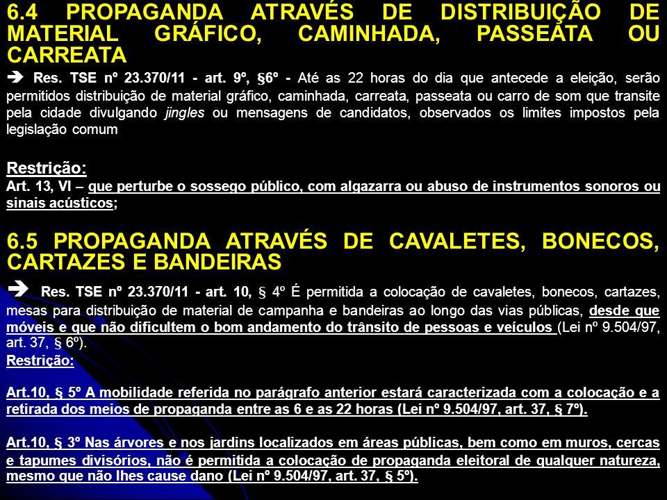 6.6 PROPAGANDA ATRAVÉS DE FIXAÇÃO DE FAIXAS, PLACAS, CARTAZES, PINTURAS OU INSCRIÇÕES EM BENS PARTICULARES (LIMITE DE 4 METROS QUADRADOS) Res.