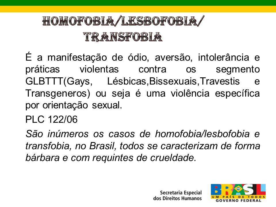 É a manifestação de ódio, aversão, intolerância e práticas violentas contra os segmento GLBTTT(Gays, Lésbicas,Bissexuais,Travestis e Transgeneros) ou seja é uma violência específica por orientação sexual.