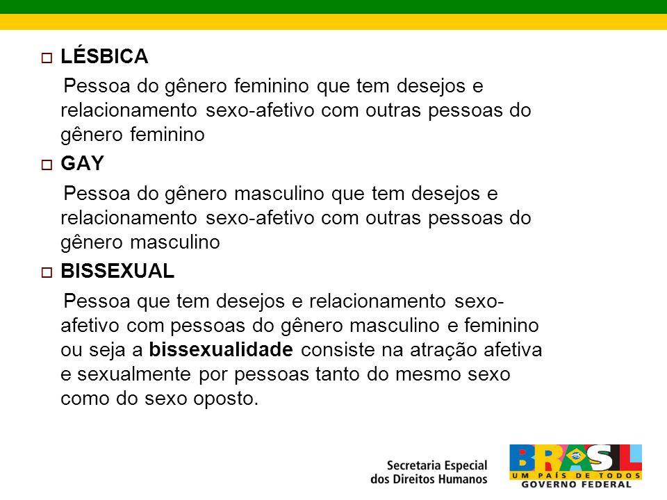 LÉSBICA Pessoa do gênero feminino que tem desejos e relacionamento sexo-afetivo com outras pessoas do gênero feminino GAY Pessoa do gênero masculino que tem desejos e relacionamento sexo-afetivo com outras pessoas do gênero masculino BISSEXUAL Pessoa que tem desejos e relacionamento sexo- afetivo com pessoas do gênero masculino e feminino ou seja a bissexualidade consiste na atração afetiva e sexualmente por pessoas tanto do mesmo sexo como do sexo oposto.