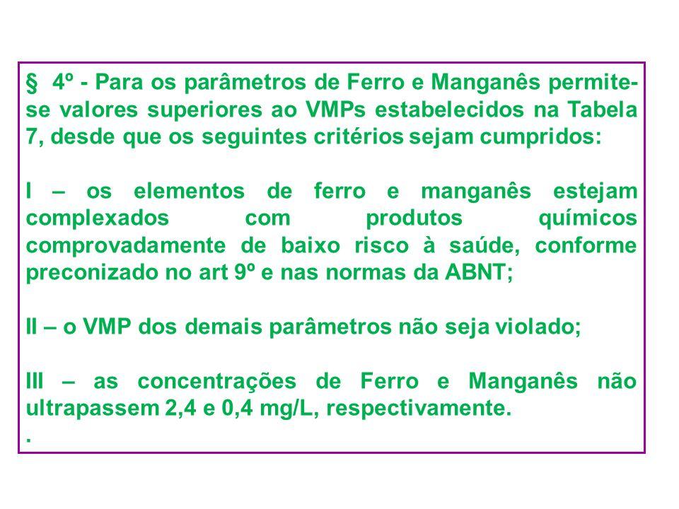 § 4º - Para os parâmetros de Ferro e Manganês permite- se valores superiores ao VMPs estabelecidos na Tabela 7, desde que os seguintes critérios sejam