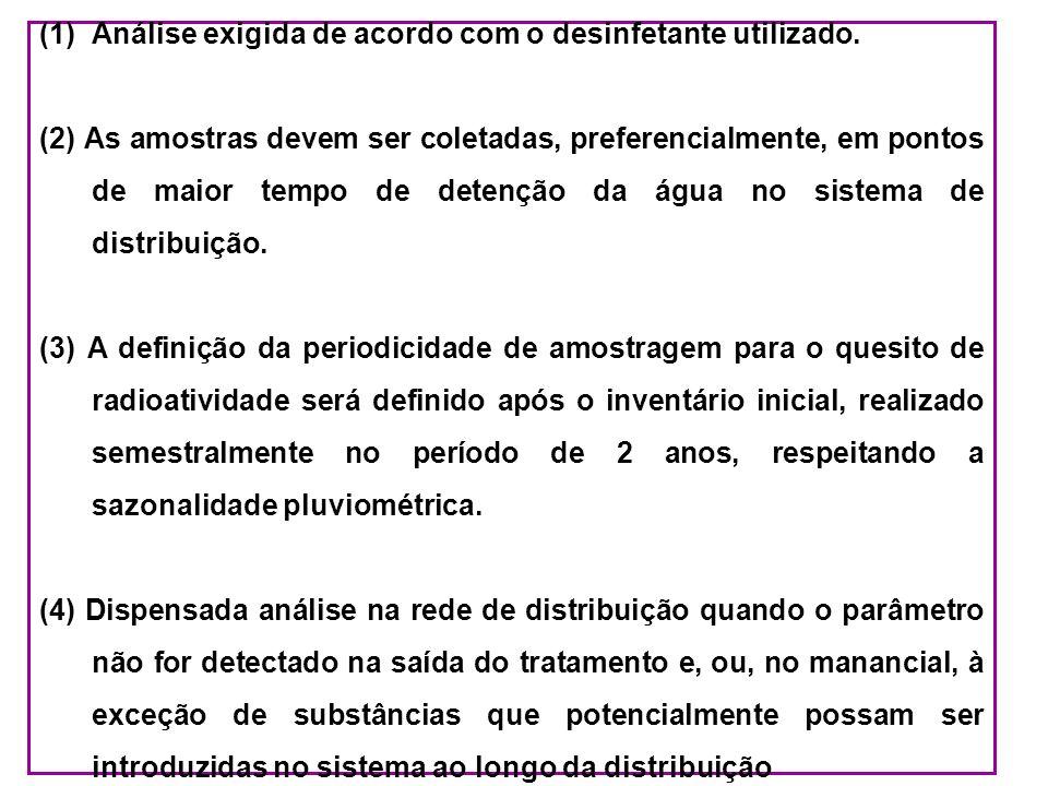 (1)Análise exigida de acordo com o desinfetante utilizado. (2) As amostras devem ser coletadas, preferencialmente, em pontos de maior tempo de detençã