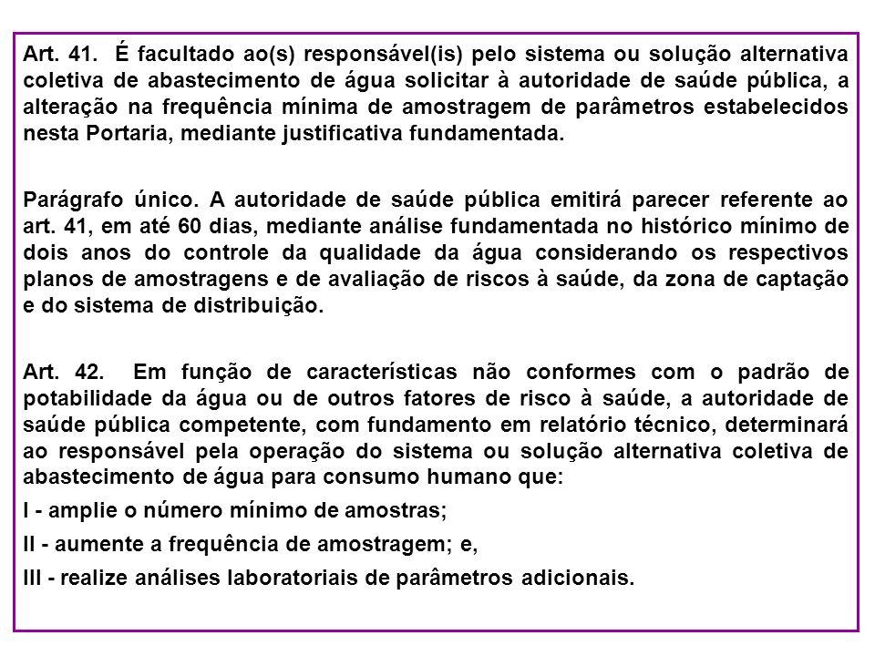 Art. 41. É facultado ao(s) responsável(is) pelo sistema ou solução alternativa coletiva de abastecimento de água solicitar à autoridade de saúde públi