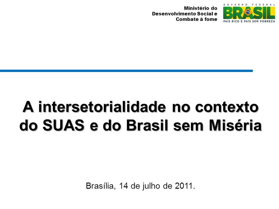 Ministério do Desenvolvimento Social e Combate à fome A intersetorialidade no contexto do SUAS e do Brasil sem Miséria Brasília, 14 de julho de 2011.