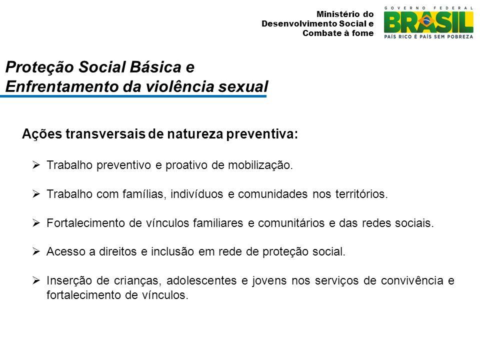 Ministério do Desenvolvimento Social e Combate à fome Proteção Social Especial e Enfrentamento da violência sexual F ortalecimento da função protetiva da família.