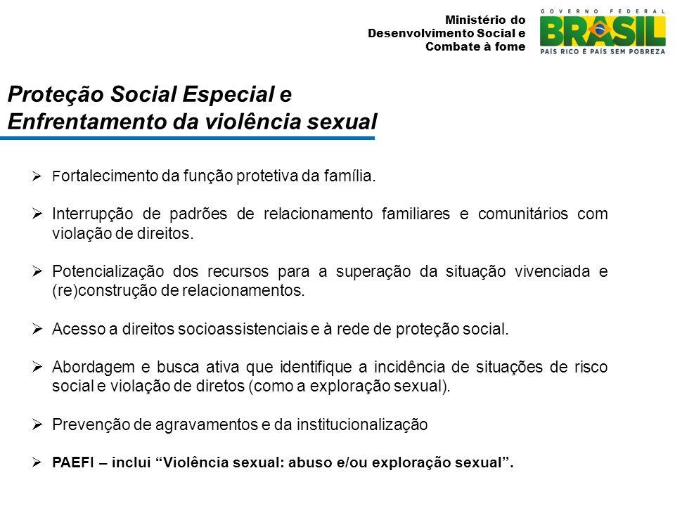 Ministério do Desenvolvimento Social e Combate à fome Proteção Social Especial e Enfrentamento da violência sexual F ortalecimento da função protetiva