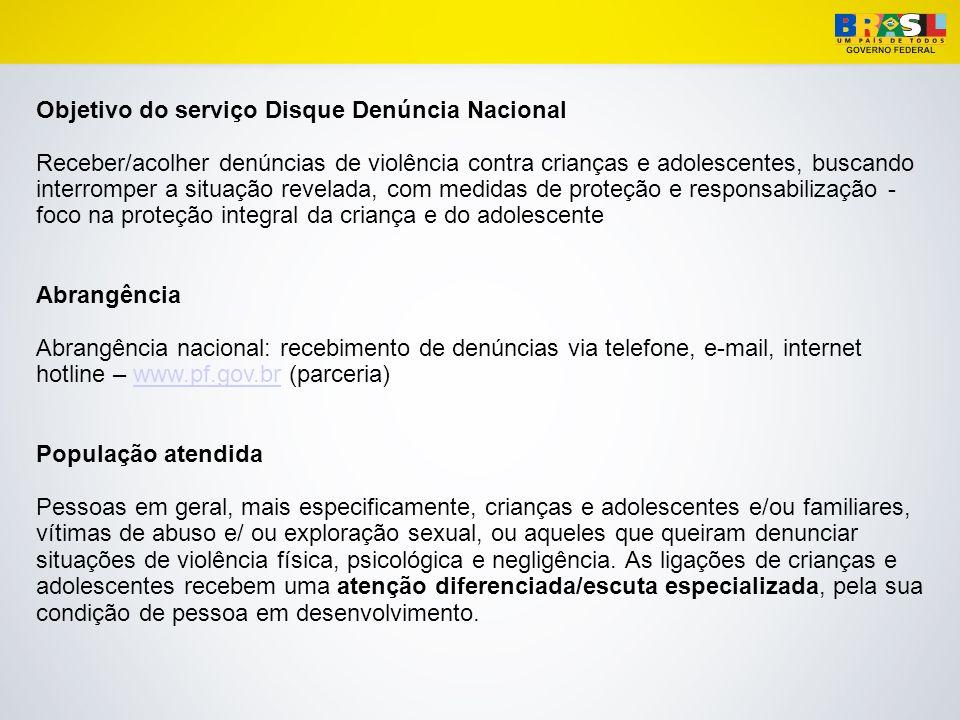 Disque Denúncia Nacional – 100 Convênio SDH/PETROBRAS/CECRIA Desde 2003 o serviço é coordenado pela Secretaria de Direitos Humanos da Presidência da República, em parceria com a Petrobras e o Cecria - Centro de Referência Estudo e Ações sobre Crianças e Adolescentes.
