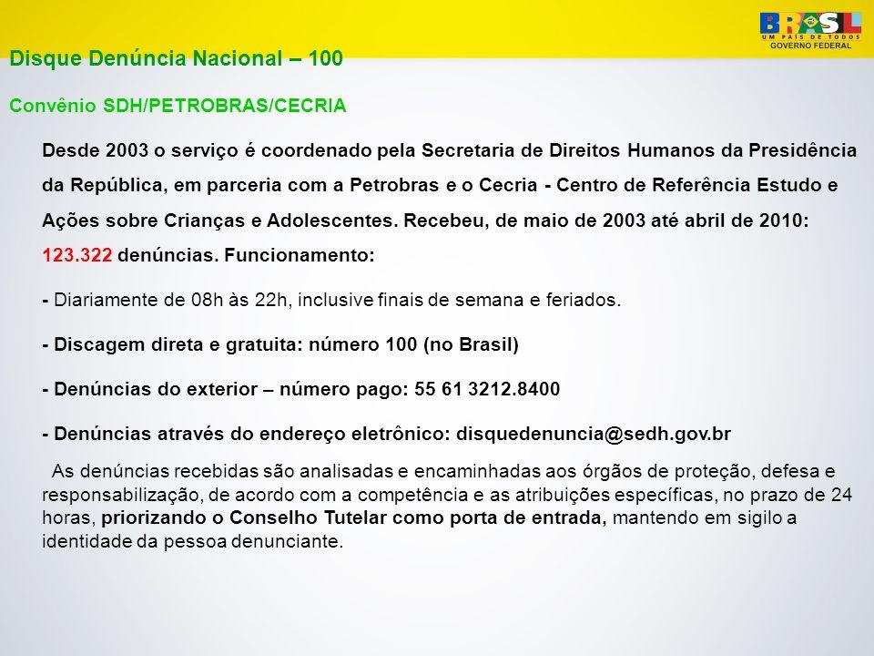 Disque Denúncia Nacional – 100 Convênio SDH/PETROBRAS/CECRIA Desde 2003 o serviço é coordenado pela Secretaria de Direitos Humanos da Presidência da R