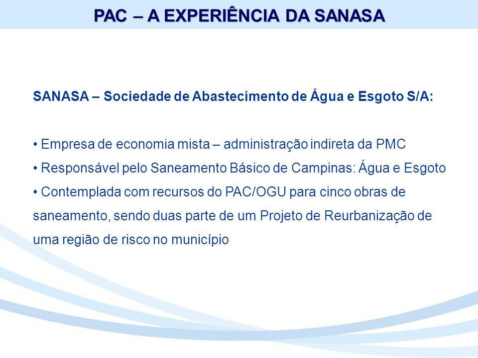 OBJETO: Sistema de Esgotamento Sanitário que engloba coletores, interceptores, uma EEE além da 2ª Etapa da EPAR – 1ª Estação Produtora de Água de Reúso do Brasil EPAR – 2ª Etapa = 182,5 l/s População beneficiada: 292 mil habitantes (ano de 2.025) Estações Elevatórias de Esgoto(construção): 2 Ampliação das EEE 1, 2 e 3 Interceptores: Ø 200 a1200mm = 11.072,21 m Linha de recalque: Ø 700mm = 2.790m Percentual tratamento: 12,7% Recursos Financeiros: R$ 75.000.000,00 Recursos Não Reembolsáveis PAC/OGU (nº 0350.898-49/2011)= R$ 75.000.000,00 (ainda não assinado) Término: dezembro/2012 SISTEMA DE ESGOTAMENTO SANITÁRIO EPAR CAPIVARI II (LOTE 2)