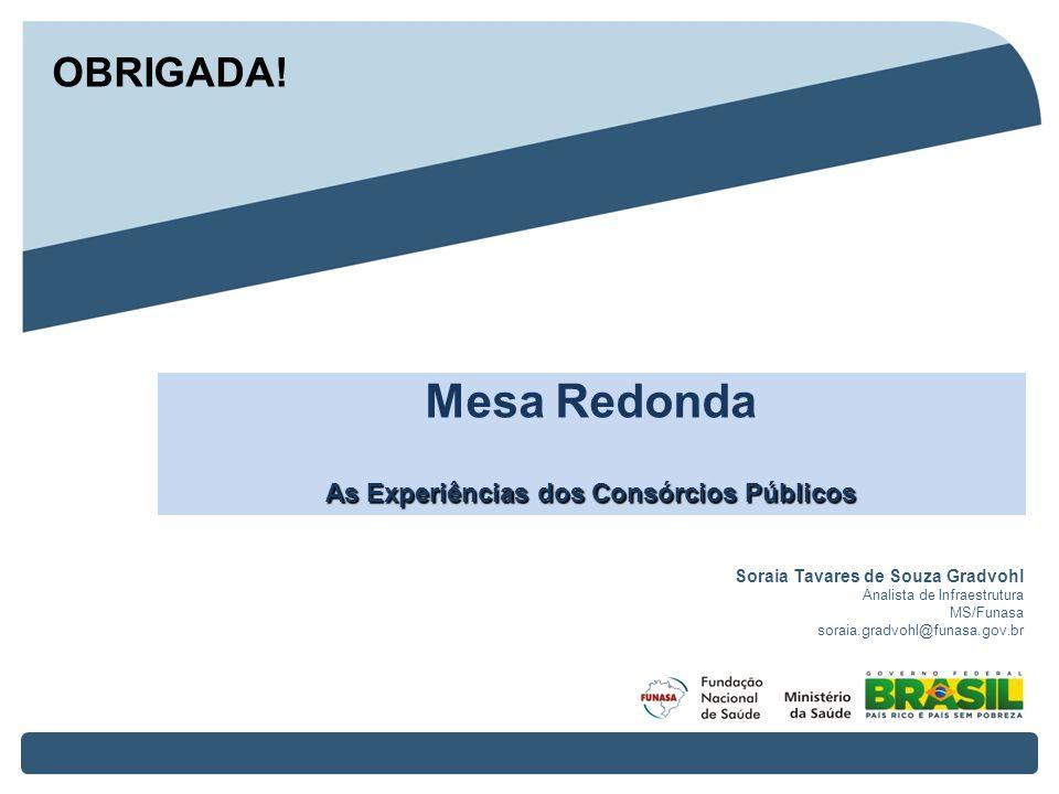 Soraia Tavares de Souza Gradvohl Analista de Infraestrutura MS/Funasa soraia.gradvohl@funasa.gov.br Mesa Redonda As Experiências dos Consórcios Públic