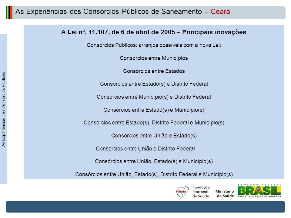 Projeto de Integração do Rio São Francisco A Lei nº. 11.107, de 6 de abril de 2005 – Principais inovações Consórcios Públicos: arranjos possíveis com