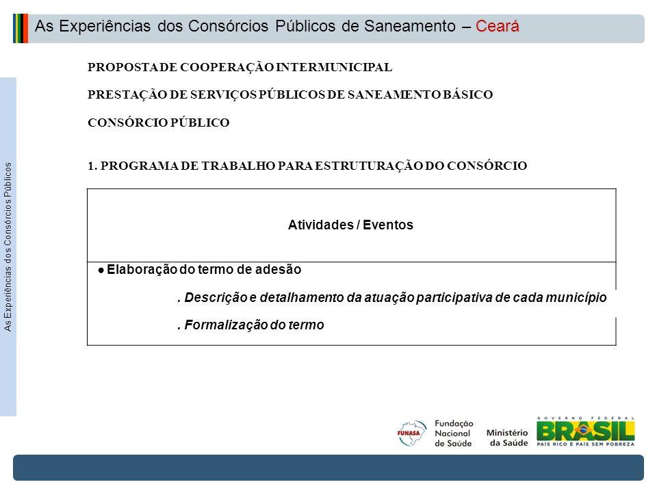 Projeto de Integração do Rio São Francisco PROPOSTA DE COOPERAÇÃO INTERMUNICIPAL PRESTAÇÃO DE SERVIÇOS PÚBLICOS DE SANEAMENTO BÁSICO CONSÓRCIO PÚBLICO 1.