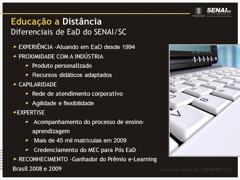 Educação a Distância Diferenciais de EaD do SENAI/SC EXPERIÊNCIA - Atuando em EaD desde 1994 PROXIMIDADE COM A INDÚSTRIA Produto personalizado Recurso