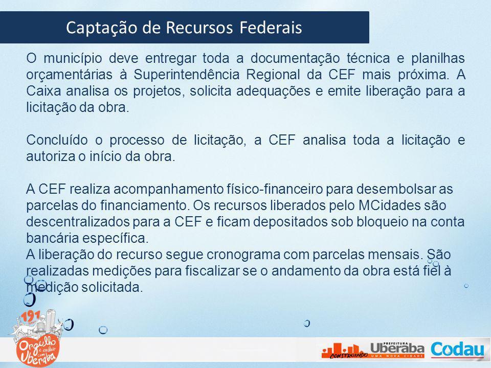 Captação de Recursos Federais FIQUE ATENTO: 1.Ao site do MCidades; 2.Utilize a tabela Sinapi como referência nos orçamentos; 3.Mantenha contato direto com os técnicos da CEF para suprí-los com o máximo de informações e qualidade nos dados.