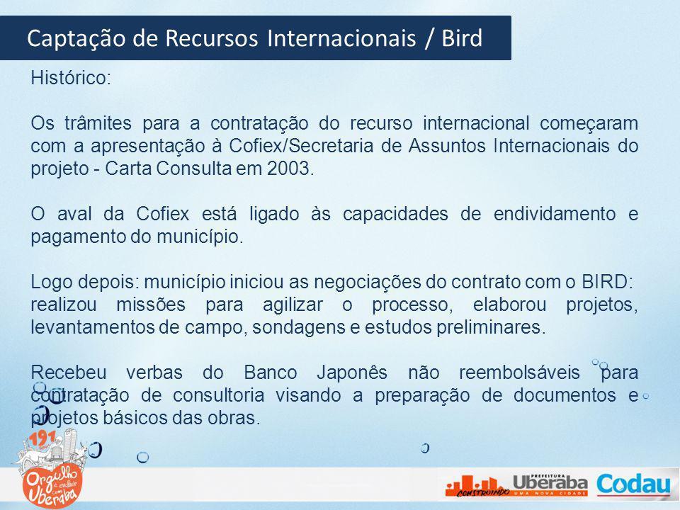 Captação de Recursos Internacionais / Bird Histórico: Os trâmites para a contratação do recurso internacional começaram com a apresentação à Cofiex/Se