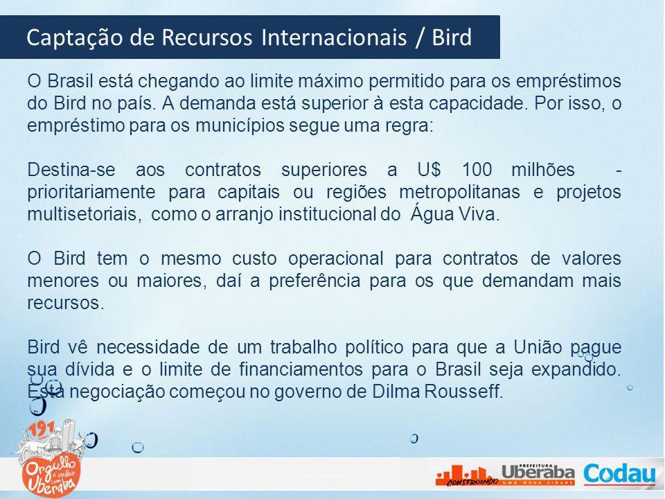 Captação de Recursos Internacionais / Bird O Brasil está chegando ao limite máximo permitido para os empréstimos do Bird no país. A demanda está super