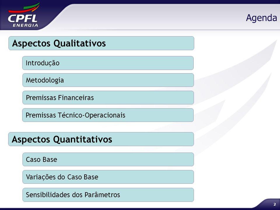 2 Agenda Aspectos Qualitativos Introdução Metodologia Premissas Financeiras Aspectos Quantitativos Premissas Técnico-Operacionais Caso Base Variações