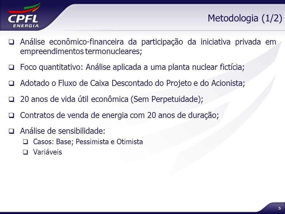 5 Metodologia (1/2) Análise econômico-financeira da participação da iniciativa privada em empreendimentos termonucleares; Foco quantitativo: Análise a
