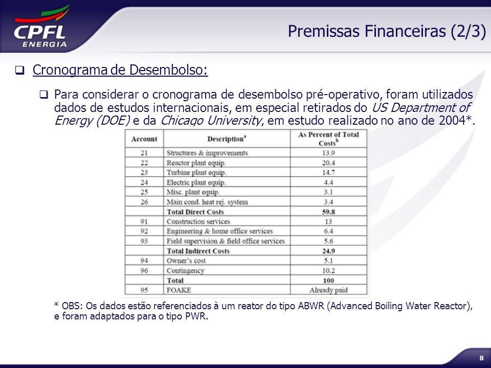 8 Premissas Financeiras (2/3) Cronograma de Desembolso: Para considerar o cronograma de desembolso pré-operativo, foram utilizados dados de estudos in