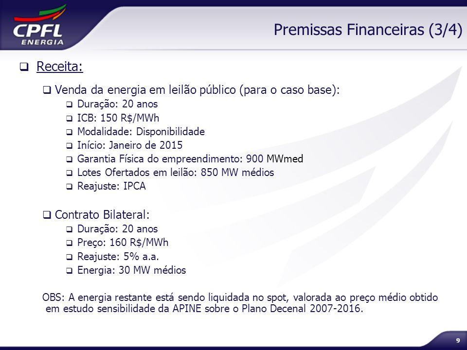 9 Premissas Financeiras (3/4) Receita: Venda da energia em leilão público (para o caso base): Duração: 20 anos ICB: 150 R$/MWh Modalidade: Disponibili