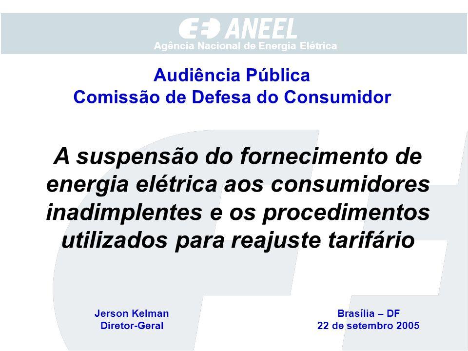 Agência Nacional de Energia Elétrica A suspensão do fornecimento de energia elétrica aos consumidores inadimplentes e os procedimentos utilizados para