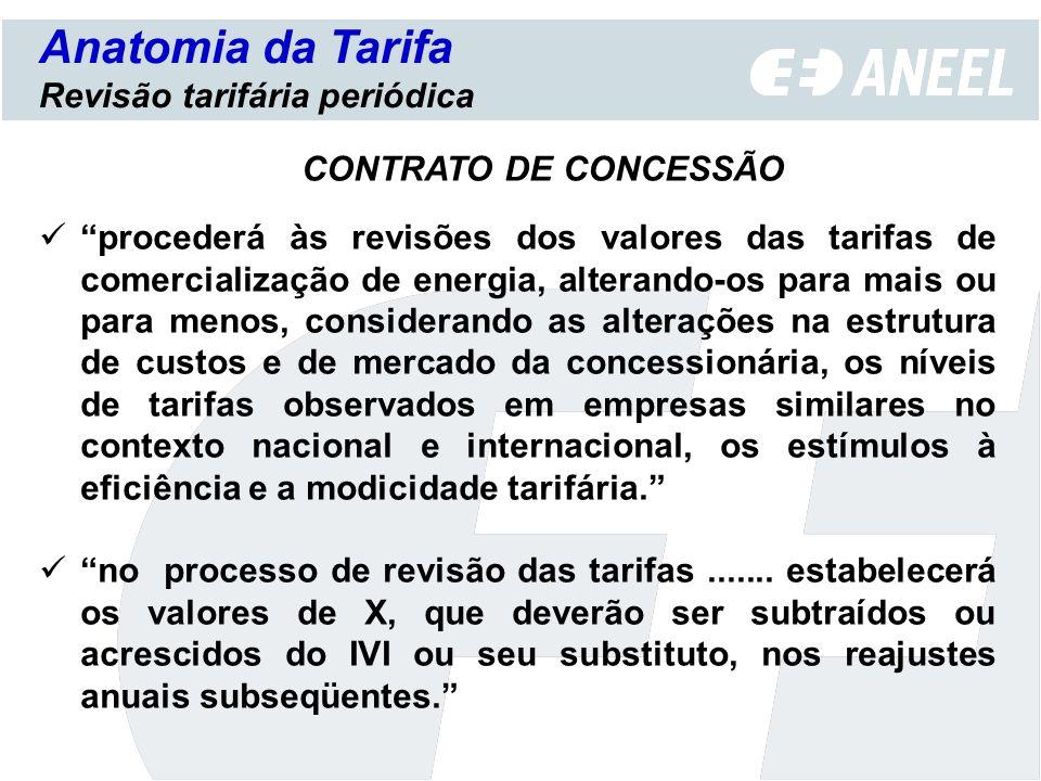 Anatomia da Tarifa Revisão tarifária periódica procederá às revisões dos valores das tarifas de comercialização de energia, alterando-os para mais ou