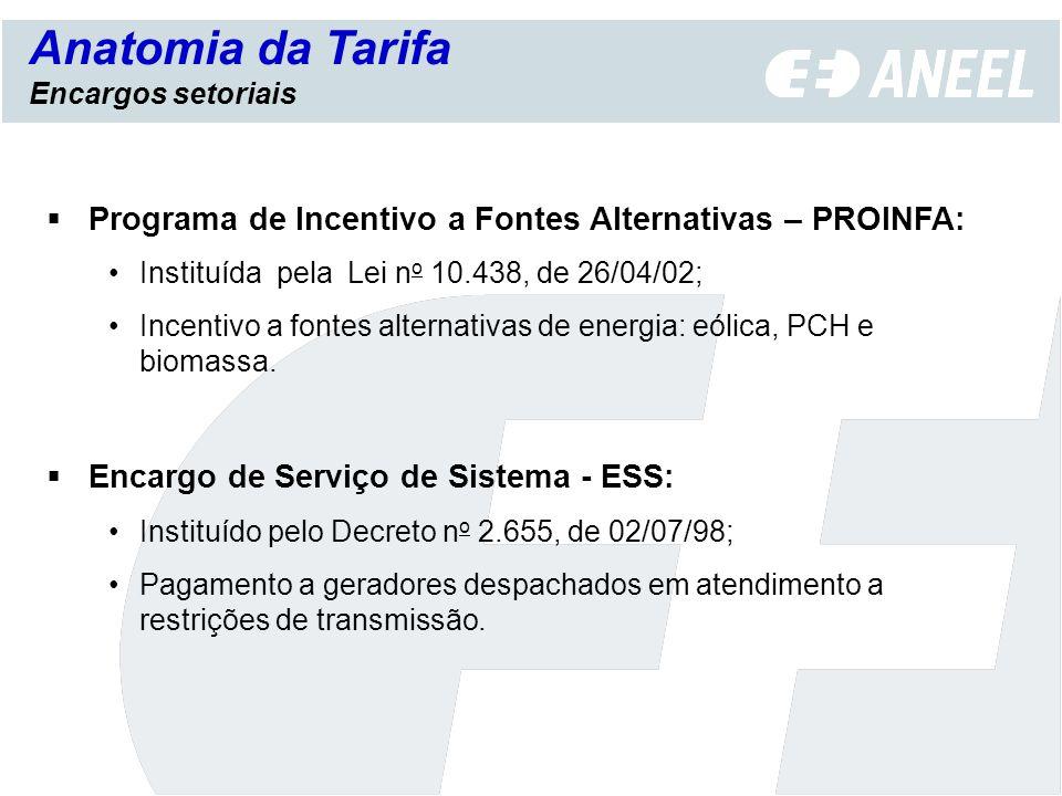 Programa de Incentivo a Fontes Alternativas – PROINFA: Instituída pela Lei n o 10.438, de 26/04/02; Incentivo a fontes alternativas de energia: eólica