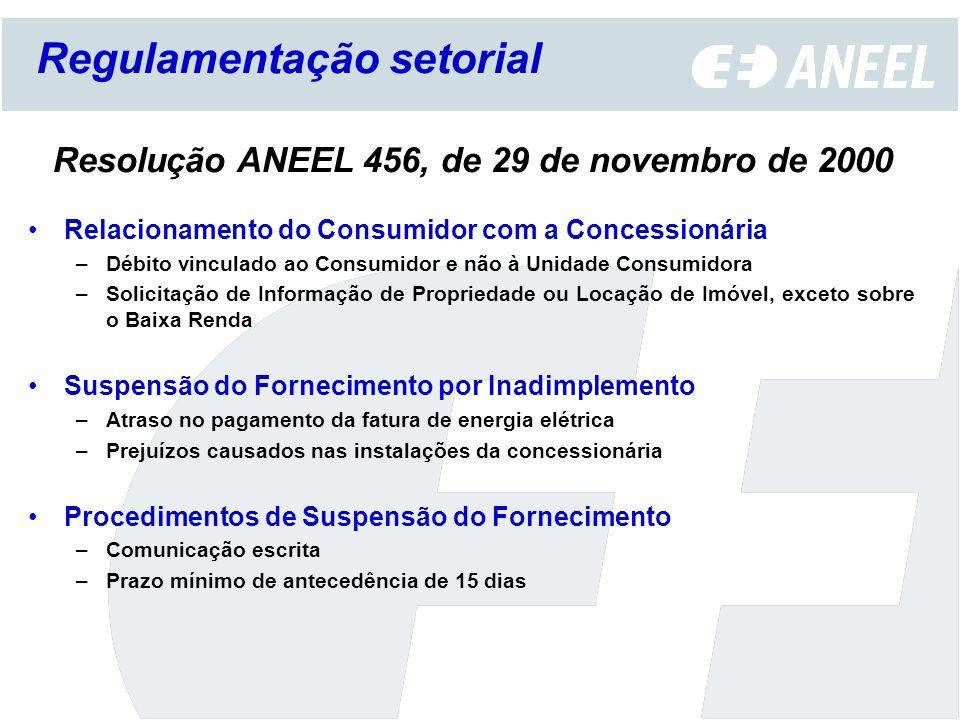 Resolução ANEEL 456, de 29 de novembro de 2000 Relacionamento do Consumidor com a Concessionária –Débito vinculado ao Consumidor e não à Unidade Consu