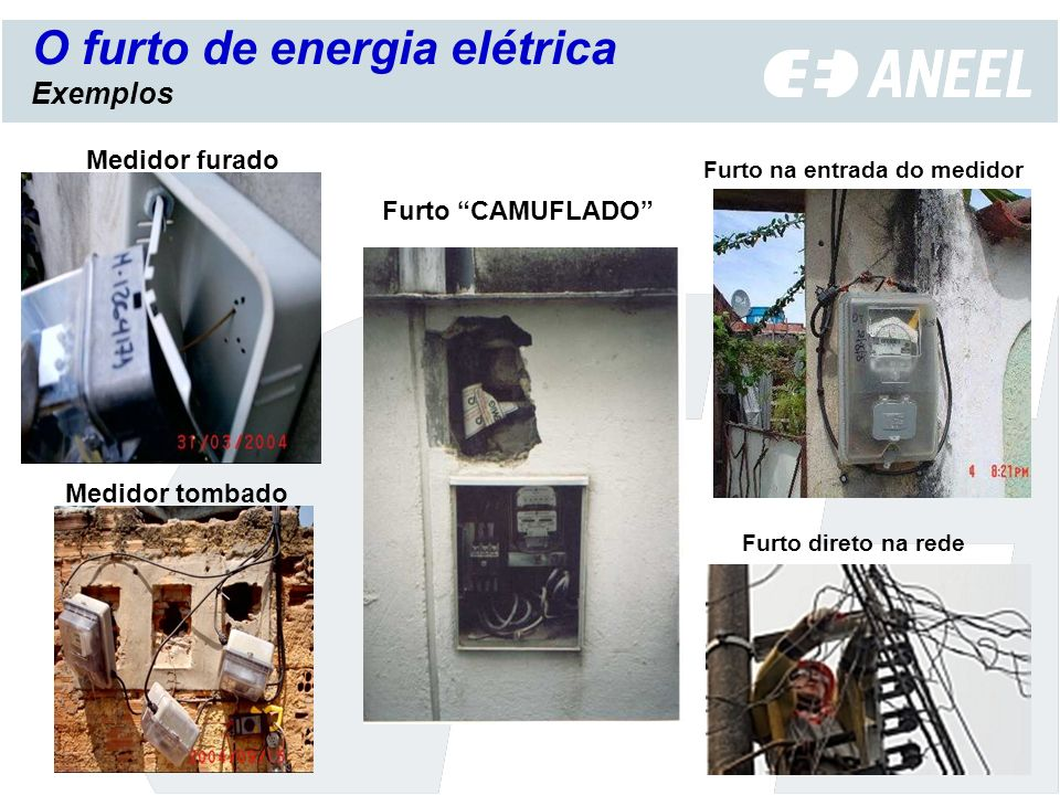 Medidor furado Furto na entrada do medidor O furto de energia elétrica Exemplos Furto CAMUFLADO Medidor tombado Furto direto na rede