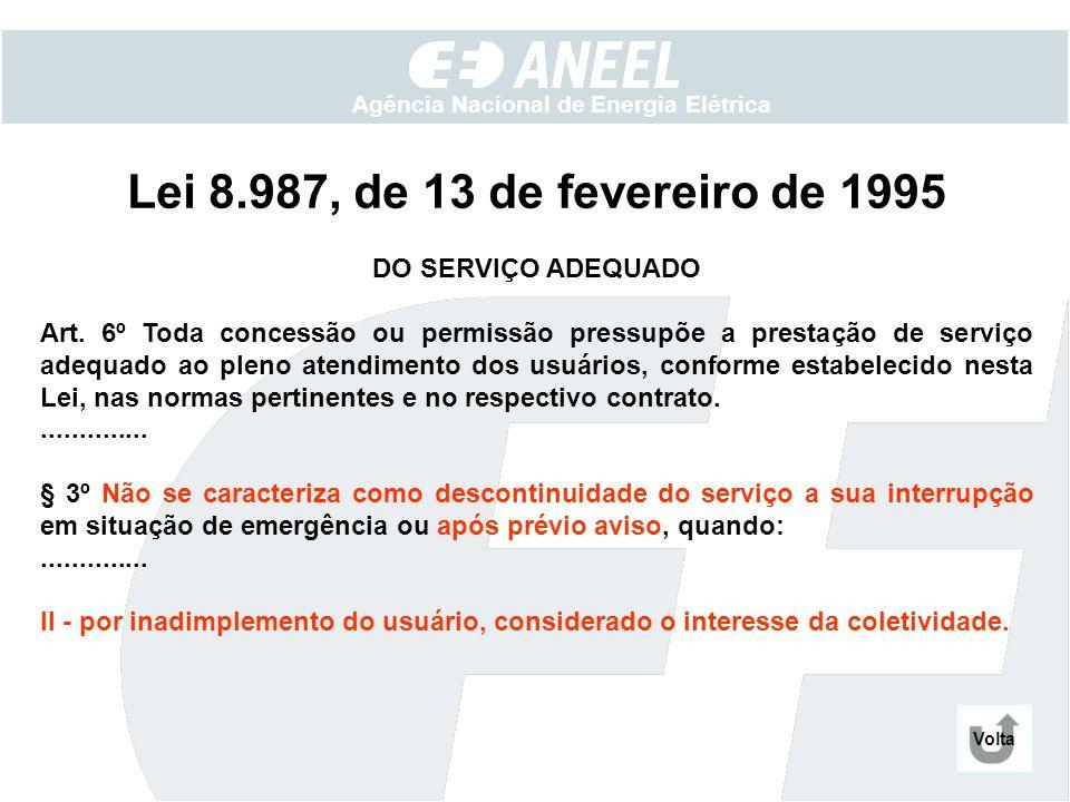 Agência Nacional de Energia Elétrica Lei 8.987, de 13 de fevereiro de 1995 DO SERVIÇO ADEQUADO Art. 6º Toda concessão ou permissão pressupõe a prestaç