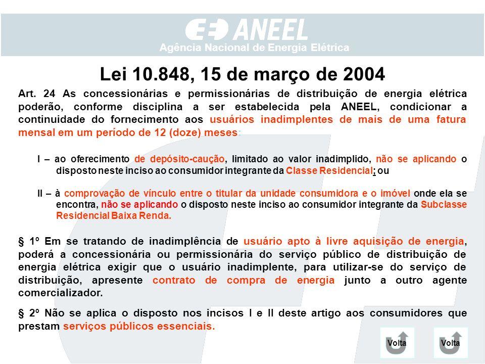 Agência Nacional de Energia Elétrica Lei 10.848, 15 de março de 2004 Art. 24 As concessionárias e permissionárias de distribuição de energia elétrica