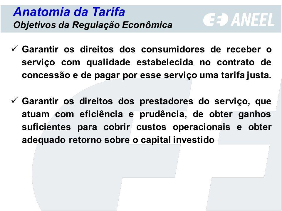 Anatomia da Tarifa Objetivos da Regulação Econômica Garantir os direitos dos consumidores de receber o serviço com qualidade estabelecida no contrato