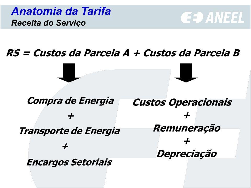 PA 1 + PB 1 Anatomia da Tarifa Reajuste tarifário anual RA 0 IRT = PB 1 = PB 0 (IGPM +/- X) PB 0 = RA 0 - PA 0 Fator X = 0 (até a ocorrência da primeira revisão tarifária periódica) RA 0 = RA 1
