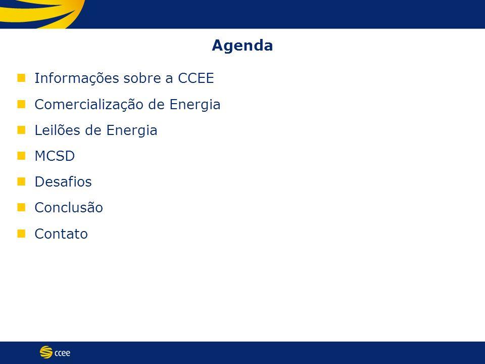 Agenda Informações sobre a CCEE Comercialização de Energia Leilões de Energia MCSD Desafios Conclusão Contato