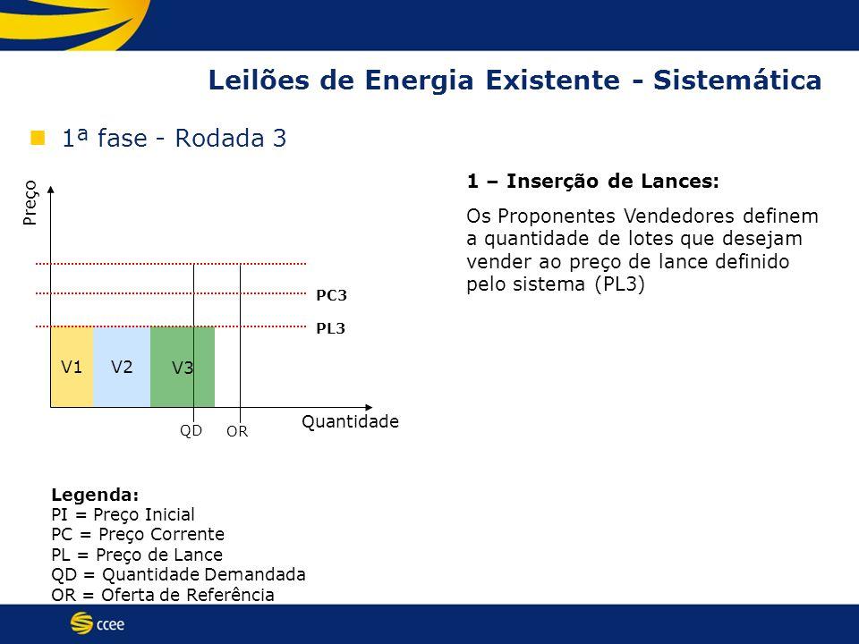 V1V2 Leilões de Energia Existente - Sistemática 1ª fase - Rodada 3 Preço Quantidade QD OR PC3 PL3 1 – Inserção de Lances: Os Proponentes Vendedores de