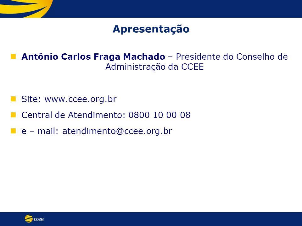 Apresentação Antônio Carlos Fraga Machado – Presidente do Conselho de Administração da CCEE Site: www.ccee.org.br Central de Atendimento: 0800 10 00 0