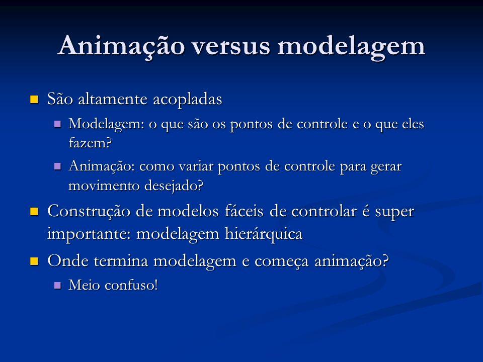 Overview Técnicas de animação Técnicas de animação Animação tradicional (quadro a quadro, manual), Keyframing (comp.), Procedimental (procedural, comp.), Comportamental (behavior based, comp.), Baseada em performance (motion capture, comp.), Baseada em física (dinâmica, comp.), High-level animation (scripts, comp.) Animação tradicional (quadro a quadro, manual), Keyframing (comp.), Procedimental (procedural, comp.), Comportamental (behavior based, comp.), Baseada em performance (motion capture, comp.), Baseada em física (dinâmica, comp.), High-level animation (scripts, comp.) Problemas em modelagem: Problemas em modelagem: Rotações, cinemática inversa Rotações, cinemática inversa