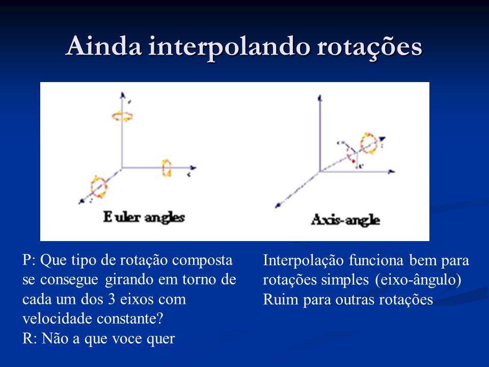 Animação procedimental Define movimento usando funções (fórmulas) Define movimento usando funções (fórmulas) Funções feitas (implementadas) manualmente Funções feitas (implementadas) manualmente Funções podem seguir leis da Física ou outras artísticas Funções podem seguir leis da Física ou outras artísticas Animador deve ser um programador Animador deve ser um programador Keyframing torna-se procedimental se expressões são adicionadas Keyframing torna-se procedimental se expressões são adicionadas Em algum nível de complexidade, melhor e mais eficiente que keyframing.