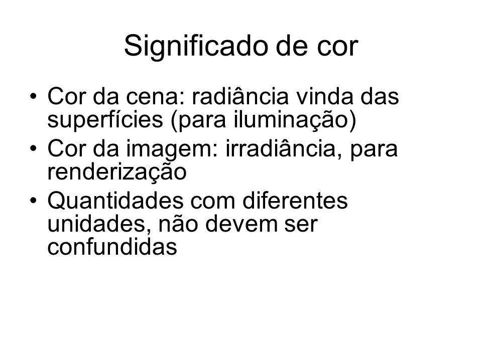 Significado de cor Cor da cena: radiância vinda das superfícies (para iluminação) Cor da imagem: irradiância, para renderização Quantidades com diferentes unidades, não devem ser confundidas