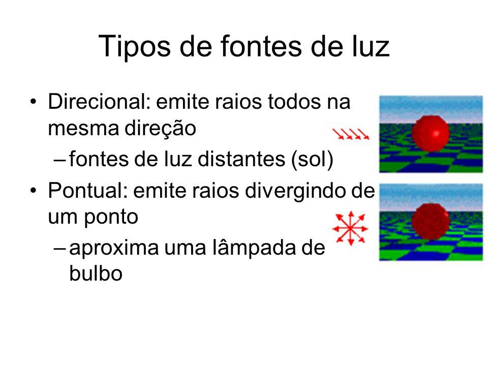 Tipos de fontes de luz Direcional: emite raios todos na mesma direção –fontes de luz distantes (sol) Pontual: emite raios divergindo de um ponto –aproxima uma lâmpada de bulbo