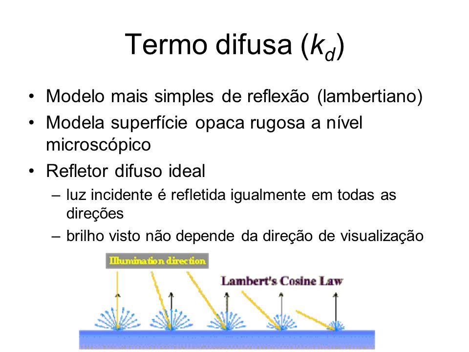 Termo difusa (k d ) Modelo mais simples de reflexão (lambertiano) Modela superfície opaca rugosa a nível microscópico Refletor difuso ideal –luz incidente é refletida igualmente em todas as direções –brilho visto não depende da direção de visualização