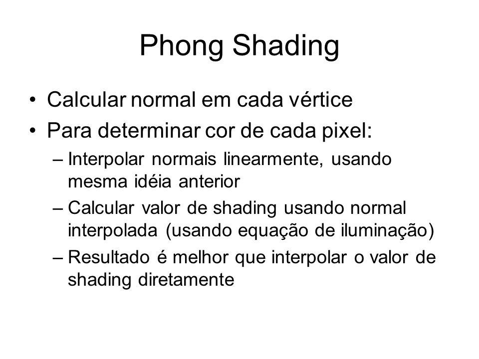 Phong Shading Calcular normal em cada vértice Para determinar cor de cada pixel: –Interpolar normais linearmente, usando mesma idéia anterior –Calcula